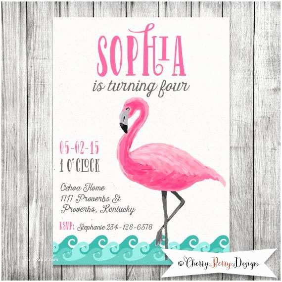 Flamingo Party Invitations Girl Flamingo Party Invite Pool Party by Cherryberrydesign
