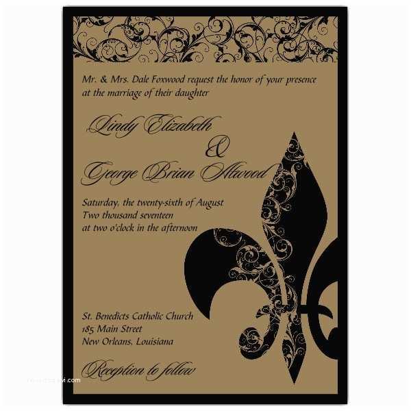 Fleur De Lis Wedding Invitations Fleur De Lis Swirl Gold Wedding Invitations