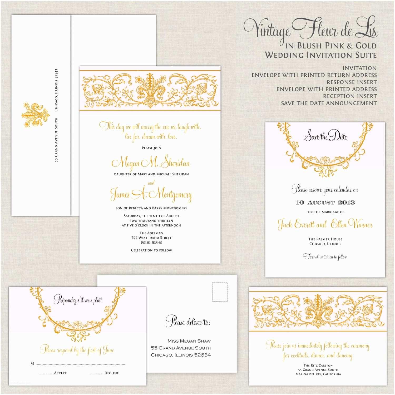 Fleur De Lis Wedding Invitations Fleur De Lis Wedding Invitations Blush and Gold Wedding