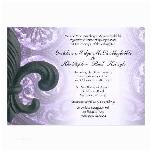 "Fleur De Lis Wedding Invitations Lilac ""iron Fleur De Lis"" Wedding Invitation 5"" X 7"