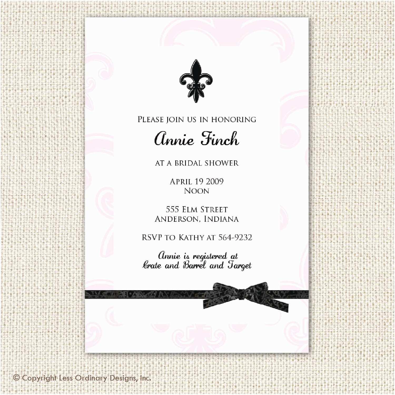 Fleur De Lis Wedding Invitations Pink and Black Fleur De Lis Bridal Shower Invitation