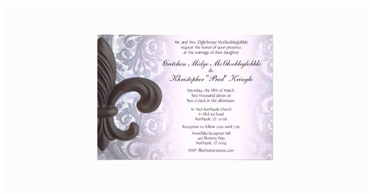 "Fleur De Lis Wedding Invitations ""iron Fleur De Lis"" Wedding Invitation"