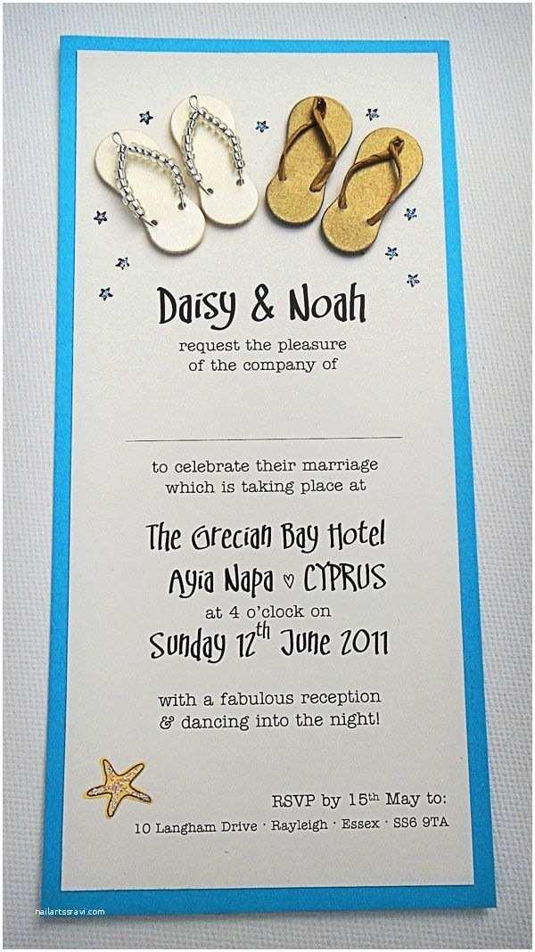 Flip Flop Wedding Invitations Beach and Seaside themed Wedding Invitation with Cute