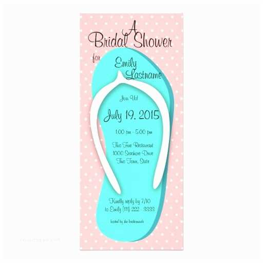 Flip Flop Wedding Invitations Blue and Pink Flip Flop Bridal Shower 4x9 25 Paper