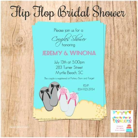 Flip Flop Wedding Invitations Flip Flop Bridal Shower Invitation You by Prettypartycreations