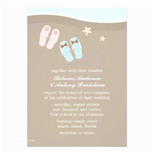 Flip Flop Wedding Invitations His and Hers Flip Flops Beach Wedding Invites