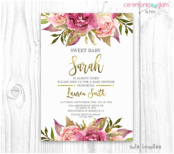 Floral Baby Shower Invitations Floral Baby Shower Invitation Burgundy and Pink Watercolor