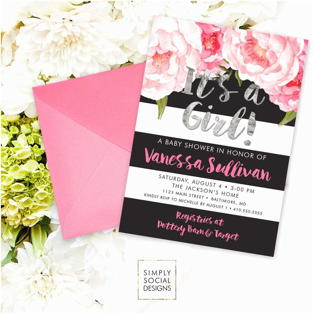 Floral Baby Shower Invitations Floral Baby Shower Invitation Floral Peony Blush Faux