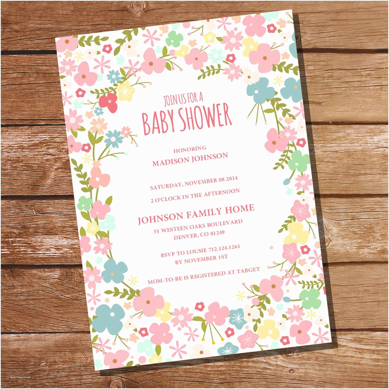 Floral Baby Shower  Floral Baby Shower Invitation Girl Baby Shower