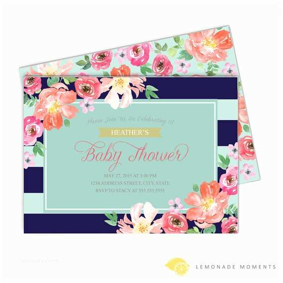 Floral Baby Shower Invitations Floral Baby Shower Invitation Navy Mint Striped Watercolor