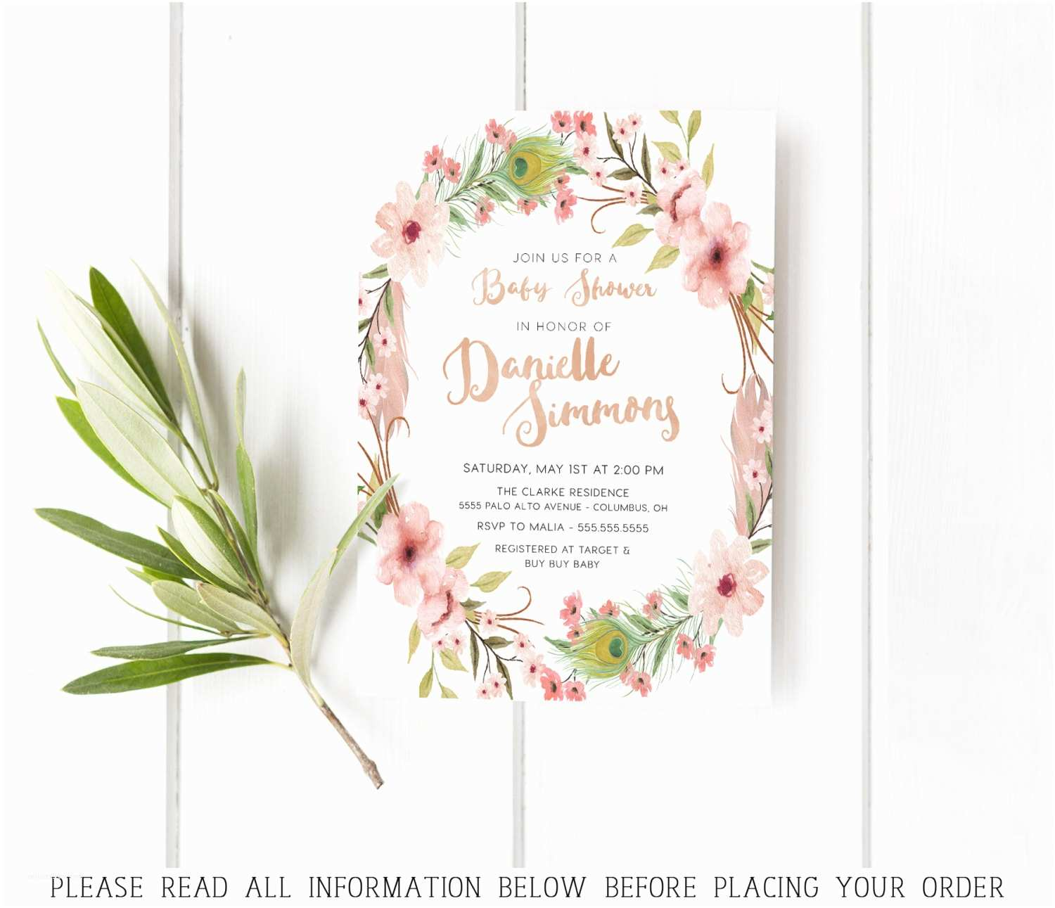 Floral Baby Shower Invitations Floral Baby Shower Invitations Flowers Feathers