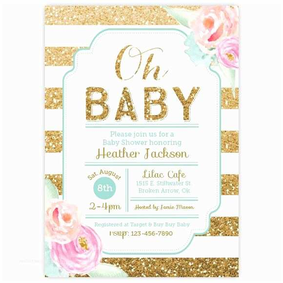 Floral Baby Shower Invitations Floral Gold Glitter Baby Shower Invitation – Ellison Reed