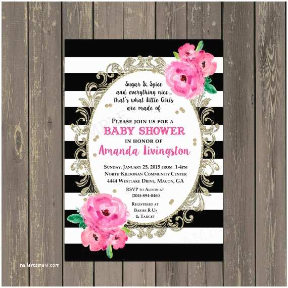 Floral Baby Shower Invitations Floral Watercolor Baby Shower Invitation Black & White