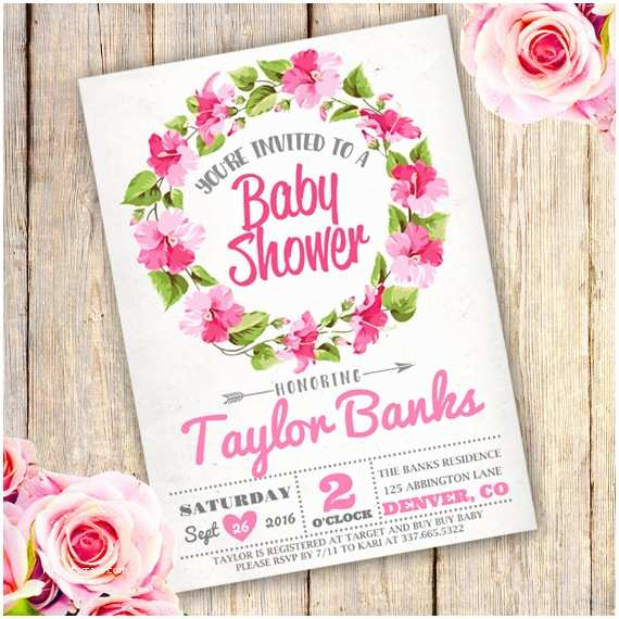 Floral Baby Shower Invitations Floral Wreath Baby Shower Girl Invitation
