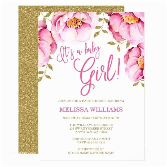 Floral Baby Shower Invitations Pink Gold Floral Watercolor Baby Shower Invitation