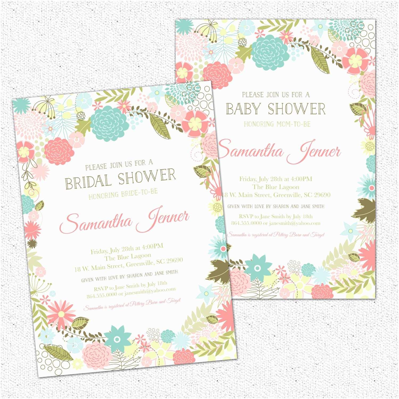 Floral Baby Shower  Retro Modern Flowers Bridal Baby Shower