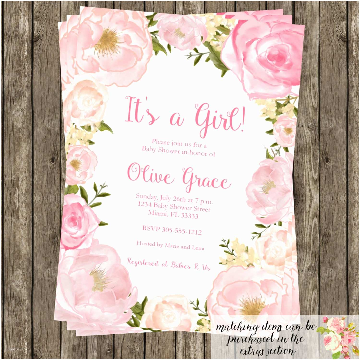 Floral Baby Shower Invitations Watercolor Floral Baby Shower Invitation Modern Birthday