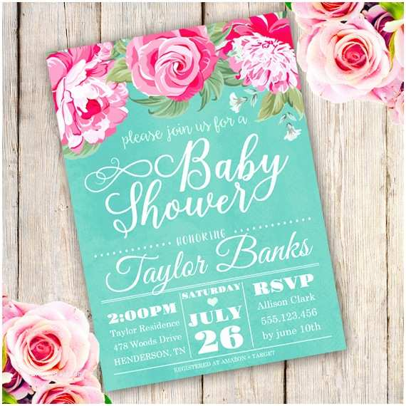 Floral Baby Shower Invitations Watercolor Floral Baby Shower Invitation Template Edit
