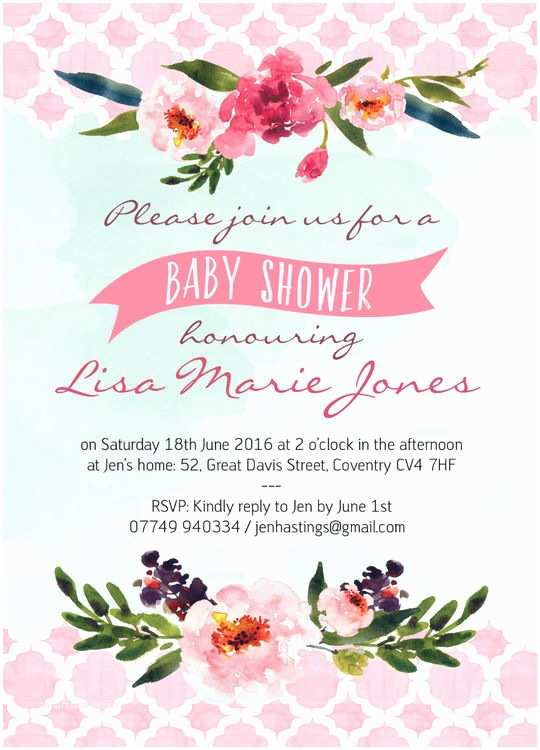 Floral Baby Shower Invitations Watercolour Floral Baby Shower Invitation From £0 80 Each