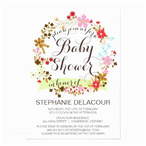 Floral Baby Shower Invitations Whimsical Floral Wreath Baby Shower Invitation
