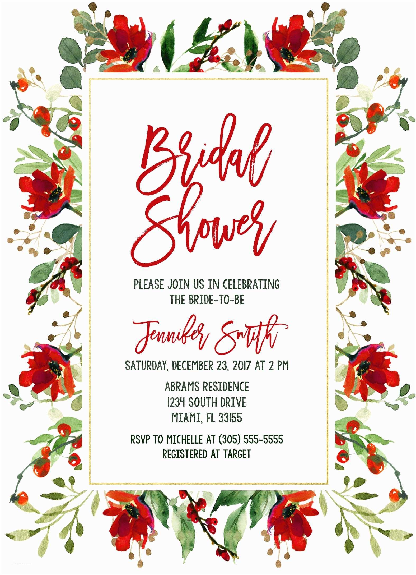 Floral Bridal Shower Invitations Christmas Bridal Shower Invitation Holly Bridal Shower