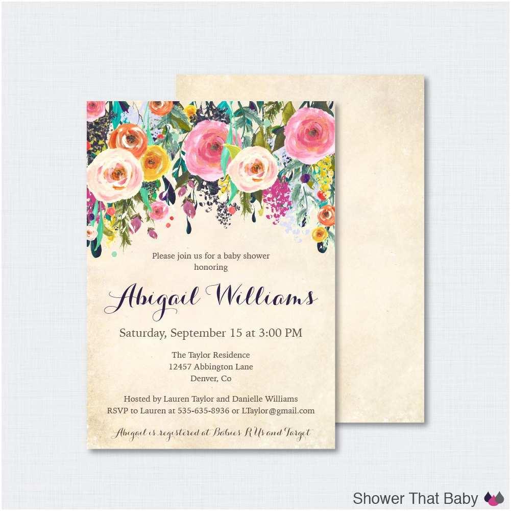 Floral Bridal Shower Invitations Floral Baby Shower Invitation Printable or Printed Flower