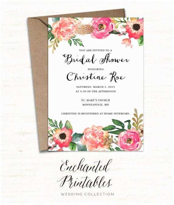 Floral Bridal Shower Invitations Printable Bridal Shower Invitation Printable Rustic