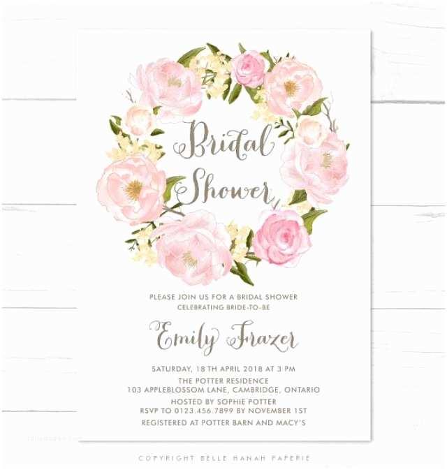 Floral Bridal Shower Invitations Printable Invitation Blush Pink Flowers Wreath Bridal