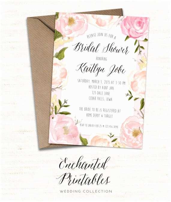 Floral Bridal Shower Invitations Rustic Spring Bridal Shower Invitation Printable Spring