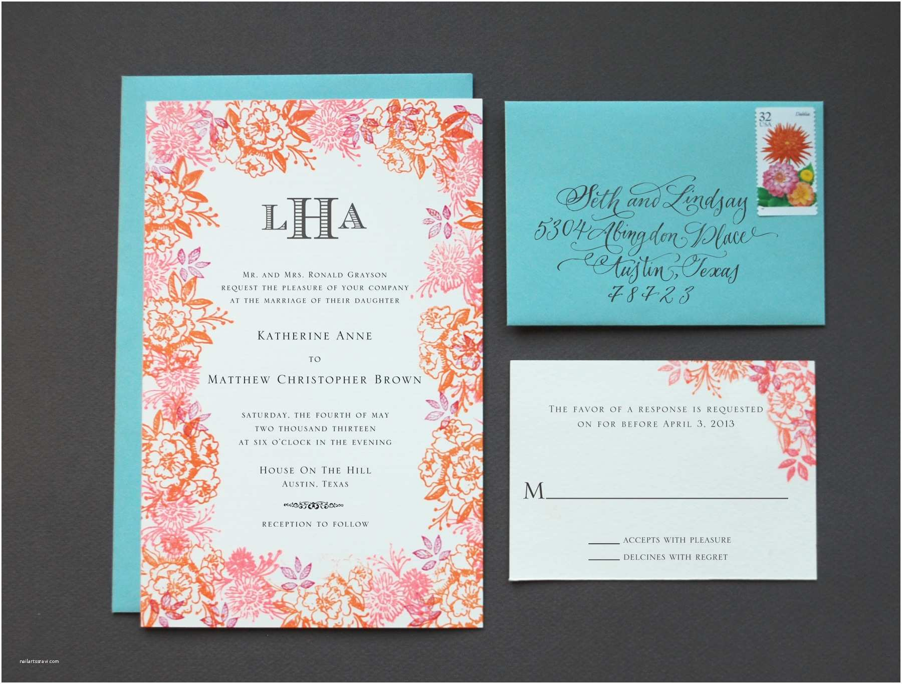 Floral Wedding Invitations Diy Rubber Stamp Floral Wedding Invitations