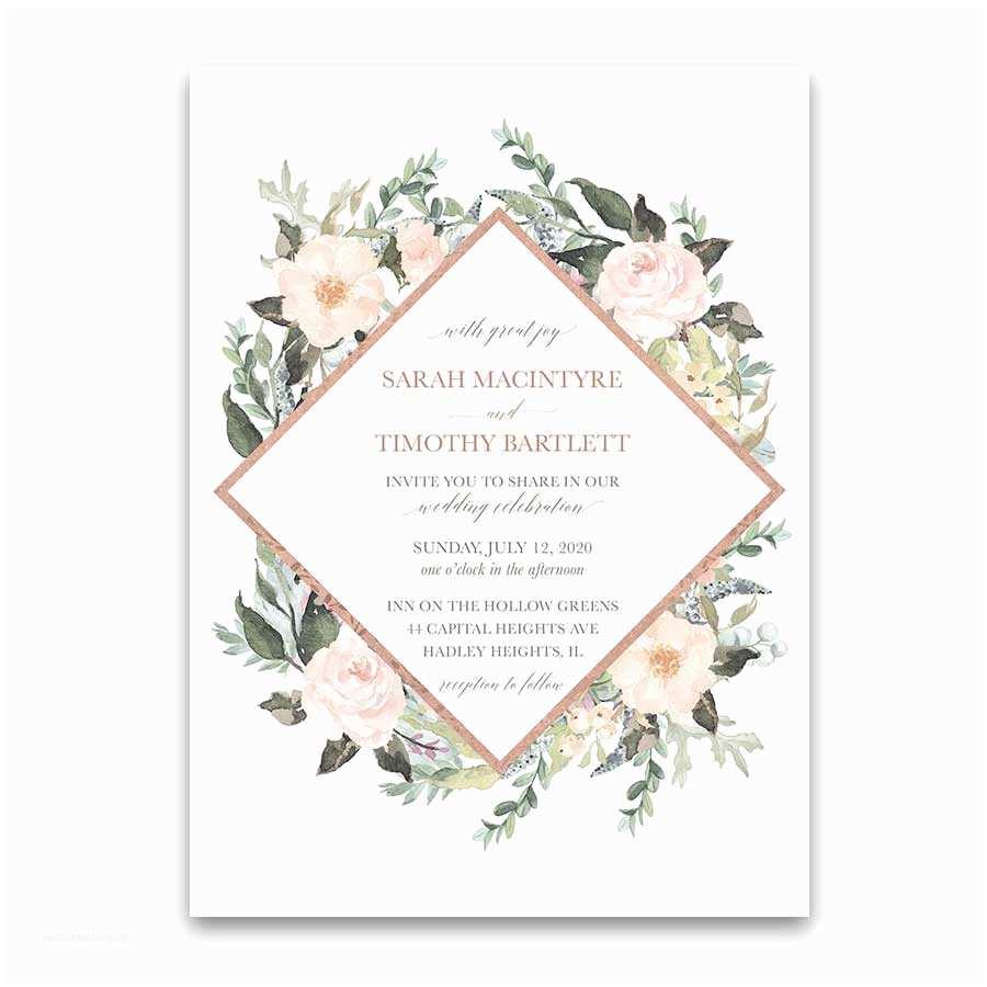 Floral Wedding Invitations Geometric Wedding Invitations Blush Peach Floral Greenery