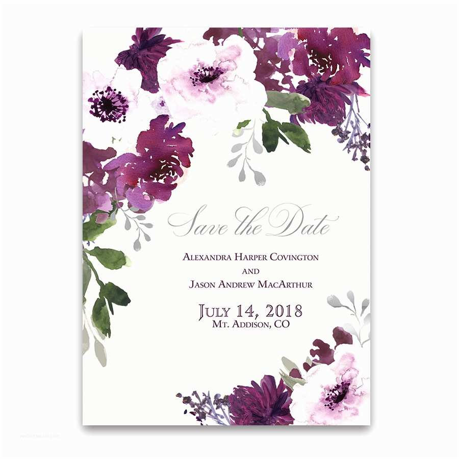 Flower Wedding Invitations Burgundy Plum Floral Watercolor Save the Date Cards