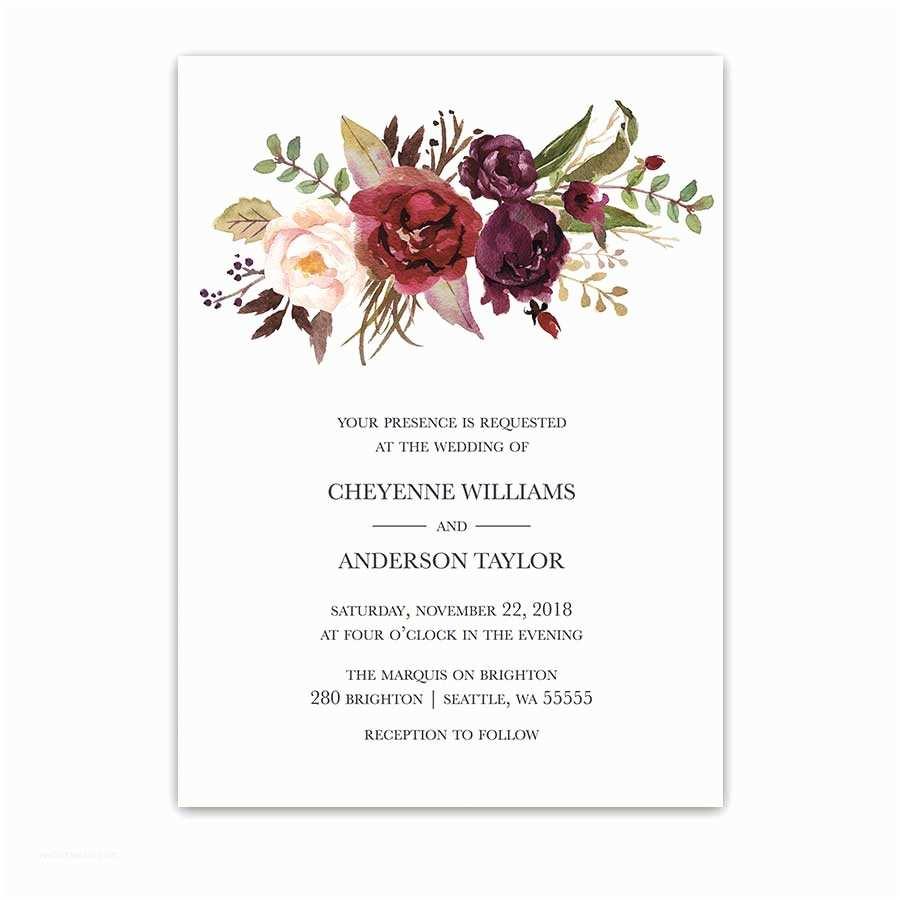Flower Wedding Invitations Floral Watercolor Wedding Invitations Burgundy Wine