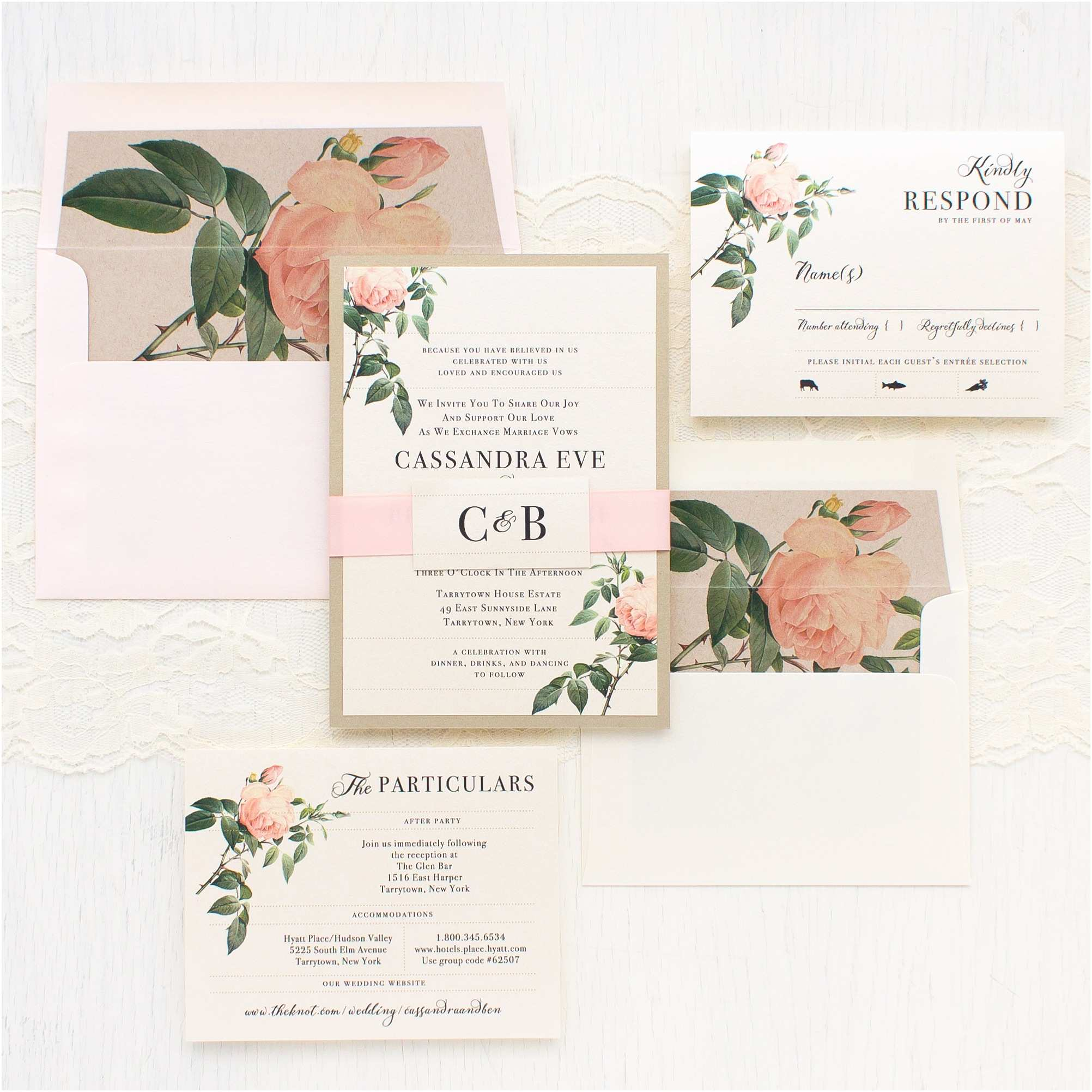 Flower Wedding Invitations Ivory & Blush Floral Customizable Wedding Invitations