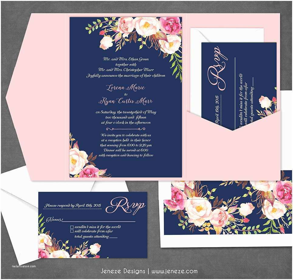 Flower Wedding Invitations Navy Floral Wedding Invitation – New Product