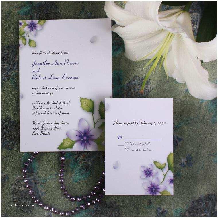 Flower Wedding Invitations Purple Flower Elegant Inexpensive Spring Wedding