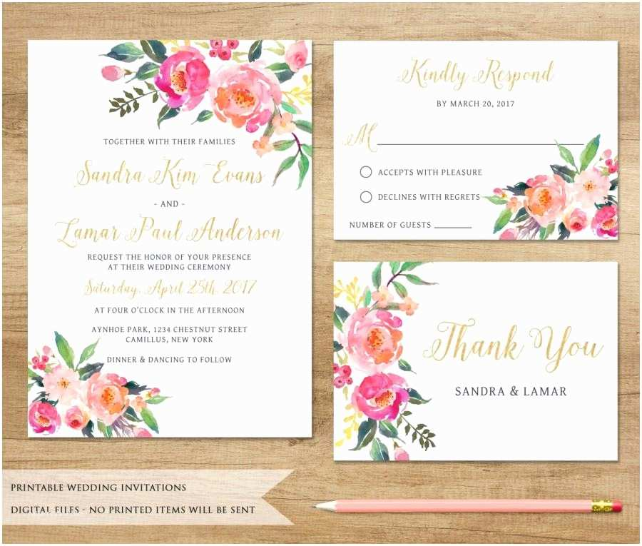 Flower Wedding Invitations Watercolor Floral Wedding Invitation Printable Wedding
