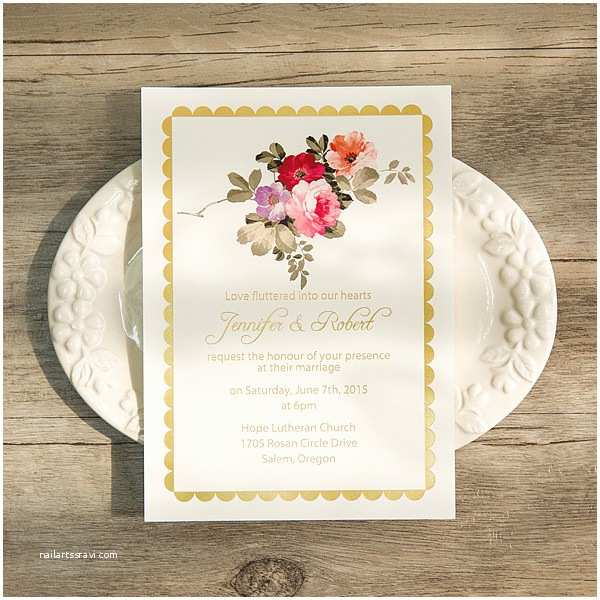 Foil Pressed Wedding Invitations Bohemian Floral Foil Pressed Wedding Invitations Ewfi003