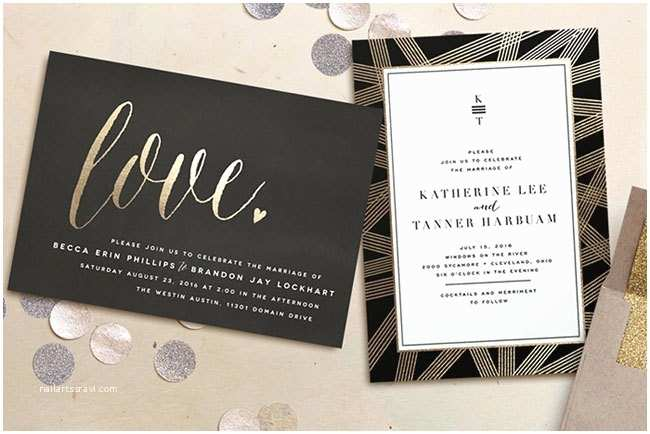 Foil Pressed Wedding Invitations Foil Pressed Wedding Invites & Save the Dates From Minted