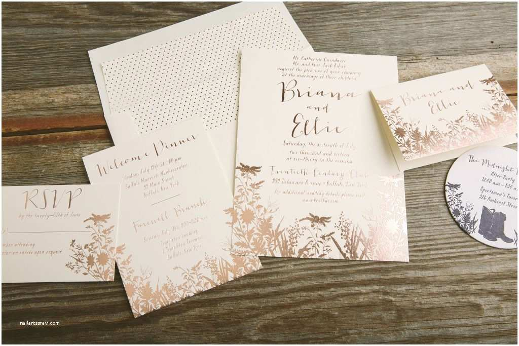 Foil Pressed Wedding Invitations Foil Stamped Rose Gold Wildflower Wedding Invitations