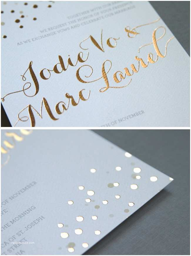 Foil Pressed Wedding Invitations Gold Foil Stamped Wedding Invitation
