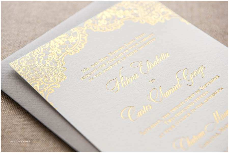 Foil Pressed Wedding Invitations Wedding Invitation Templates Foil Stamped Wedding