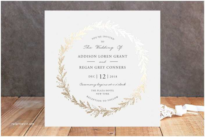 Foil Pressed Wedding Invitations Winter Wreath Foil Wedding Invitations by Oma N Ramkhelawan