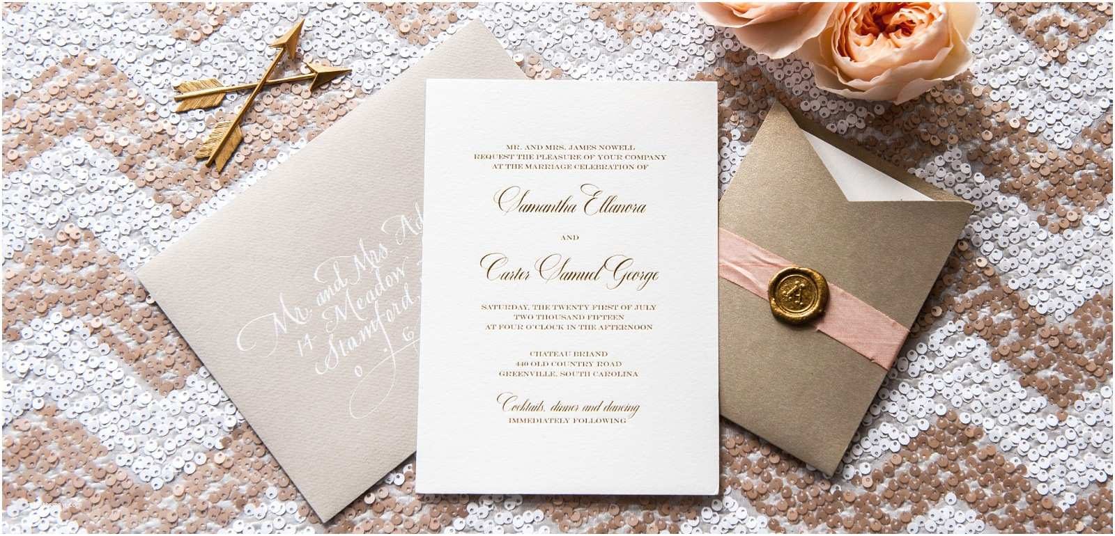 Foil Print Wedding Invitations Gold and Silver Foil Wedding Invitations