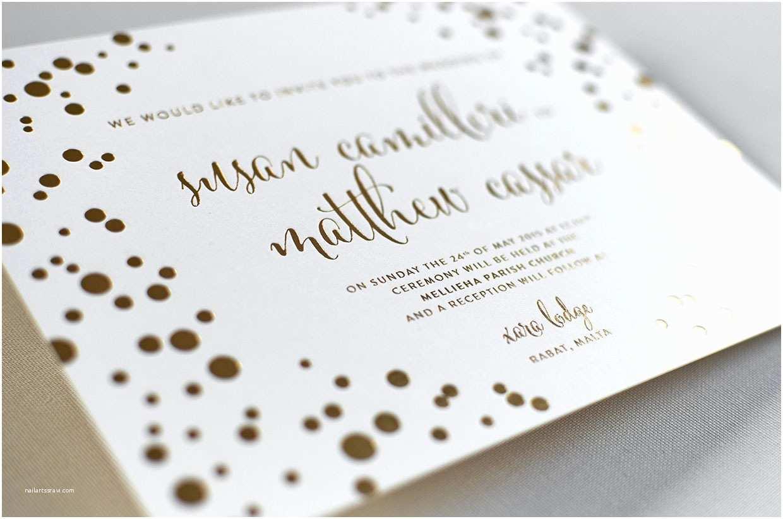 Foil Print Wedding Invitations Gold Foil Wedding Invitations Elegante Press