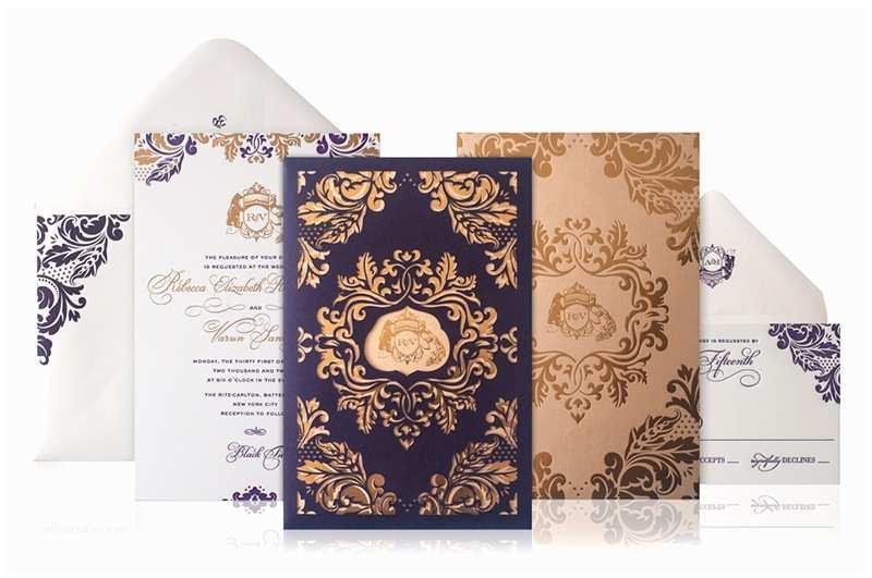 Foil Print Wedding Invitations Rebecca Varun S Lasercut and Gold Foil Wedding Invitations
