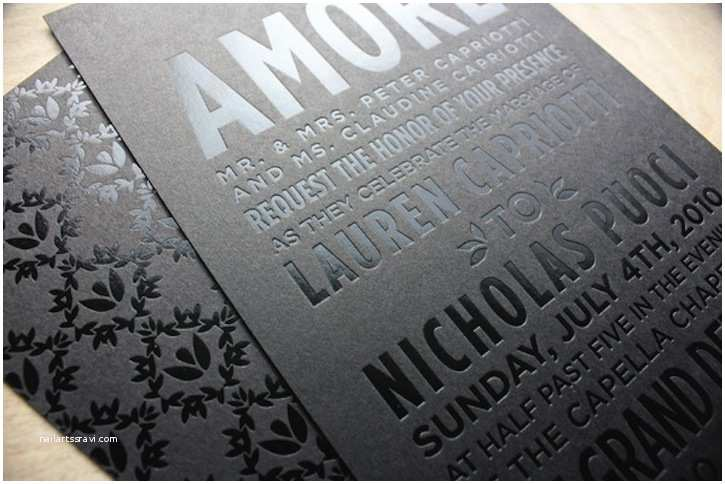 Foil Stamped Wedding Invitations Beautiful Wedding Invitations Metallic Foil Stamping Black