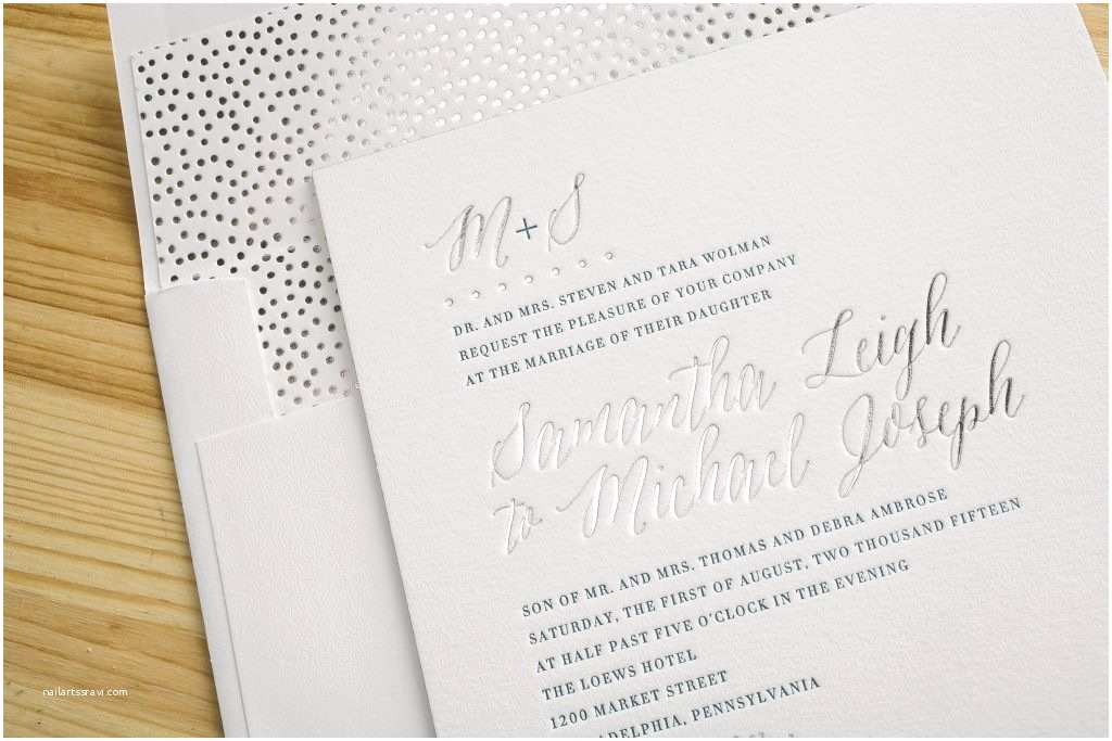 Foil Stamped Wedding Invitations Blue Silver Foil Stamped Wedding Invitations Bella Figura