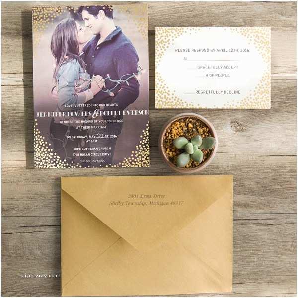 Foil Stamped Wedding Invitations Classic Foil Stamped Dot Photo Wedding Invitations Ewfi011