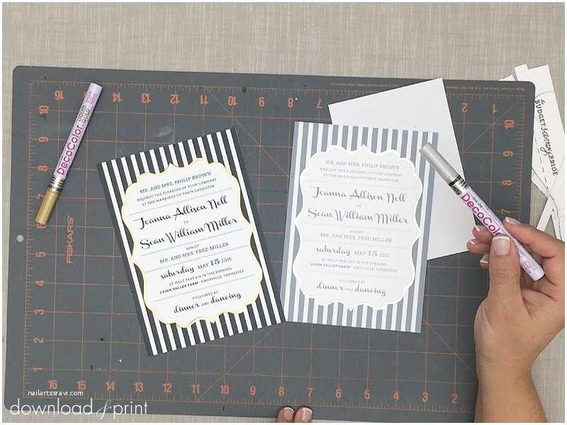 Foil Stamped Wedding Invitations Diy Foil Stamped Wedding Invitation with Bold Stripes